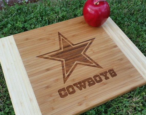 Dallas Cowboys Cutting Board, Personalized Cutting Board, Custom Cutting Board, Gift for Him, Sports Cutting Board by EngravingsEtc on Etsy