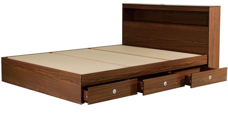 Queen Bed With Storage In Chocolate Beech Finish By