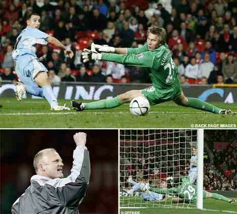 Man Utd 0 Coventry City 2 in Sept 2007 at Old Trafford. The Coventry hero was Michael Mifsud who scored both goals in the League Cup 4th Round tie.