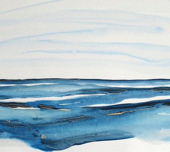 Original Modern Watercolor Abstract Landscape painting