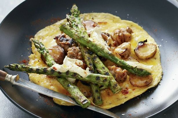 Asparagus, pork and potato omelets main image