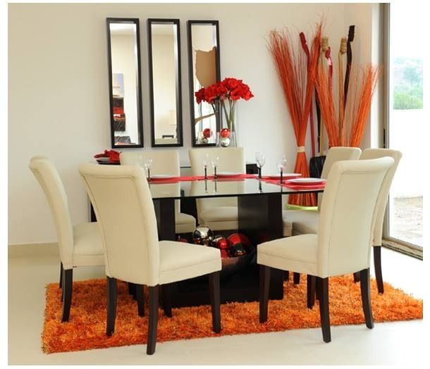 This dinning room would look amazing with red instead of orange!