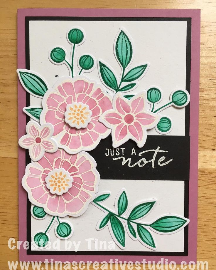 My second card using Falling Flowers stamp set and the May Flowers Framelits from Stampin' Up. This was one of three cards in a recent class I ran.