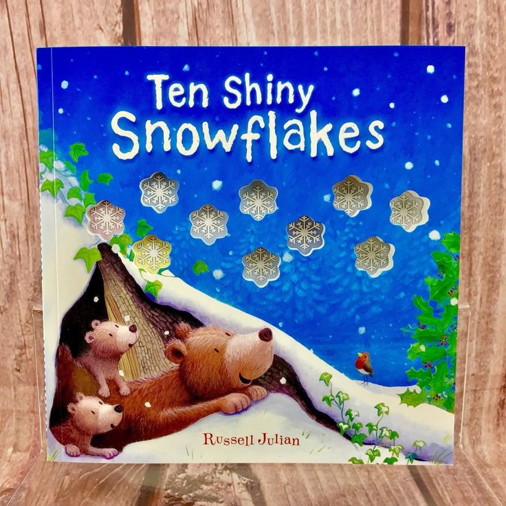 Childrens Christmas Book 10 Shiny SnowFlakes stocking santa gift snow counting