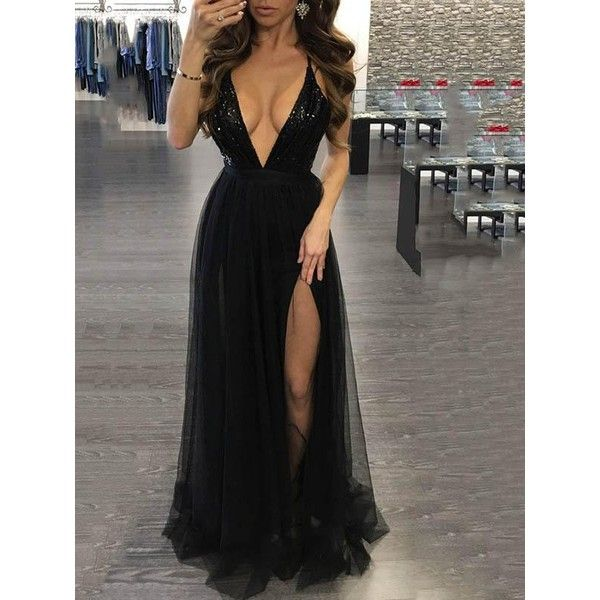 Sexy Deep V-Neck Spaghetti Straps Backless Maxi Dress Evening Dress ($34) ❤ liked on Polyvore featuring dresses, low v neck dress, sexy dresses, maxi cocktail dresses, sexy cocktail dresses and sexy spaghetti strap dress