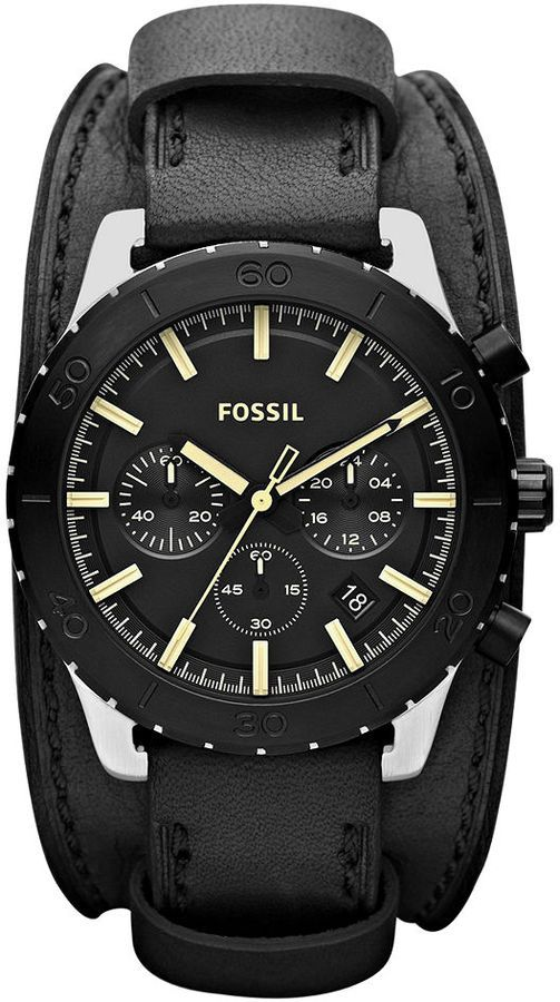 Fossil Watch, Men's Chronograph Keaton Black Leather Double Pad Strap 43mm…