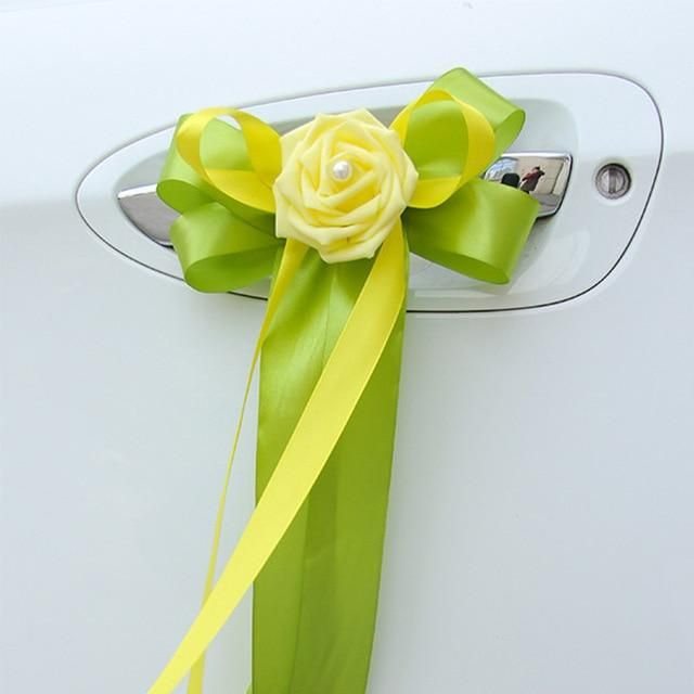 1Pc Wedding Car Decoration Ribbons Flower Door Handles and Rearview Mirror Decor