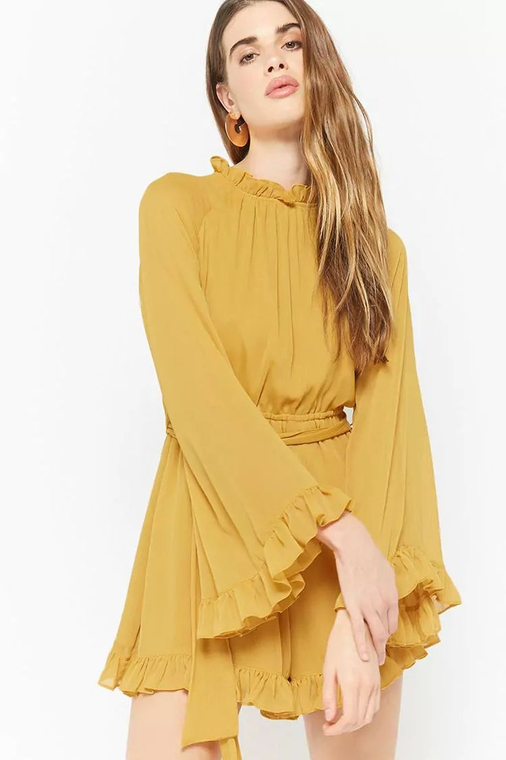 Product Name:Ruffle Trim Bell Sleeve Romper, Category:dress, Price:29.9