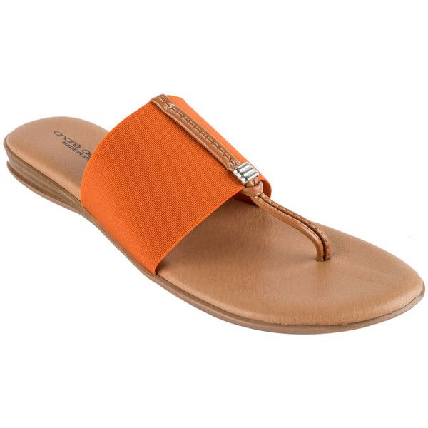 Andre Assous Nice Women's Orange Slip On 7 M (27 KWD) ❤ liked on Polyvore featuring shoes, sandals, orange, leather slip on sandals, wedge heel sandals, leather upper shoes, wedges shoes and leather slip on shoes