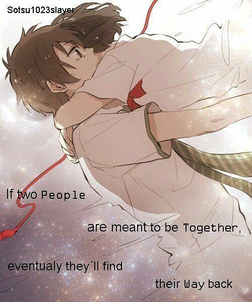 Kimi no Nawa, Taki Tachibana, Mitsuha Miyamizu, Red String of Fate, hug, tears, love❤