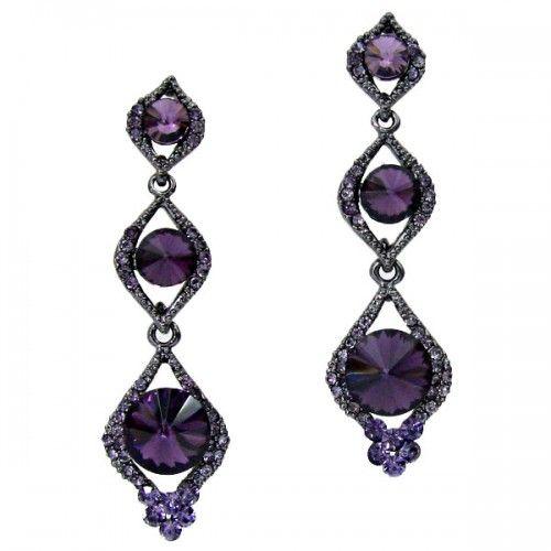 Amethyst Coloured Crystal Diamante Sparkly Drop Earrings