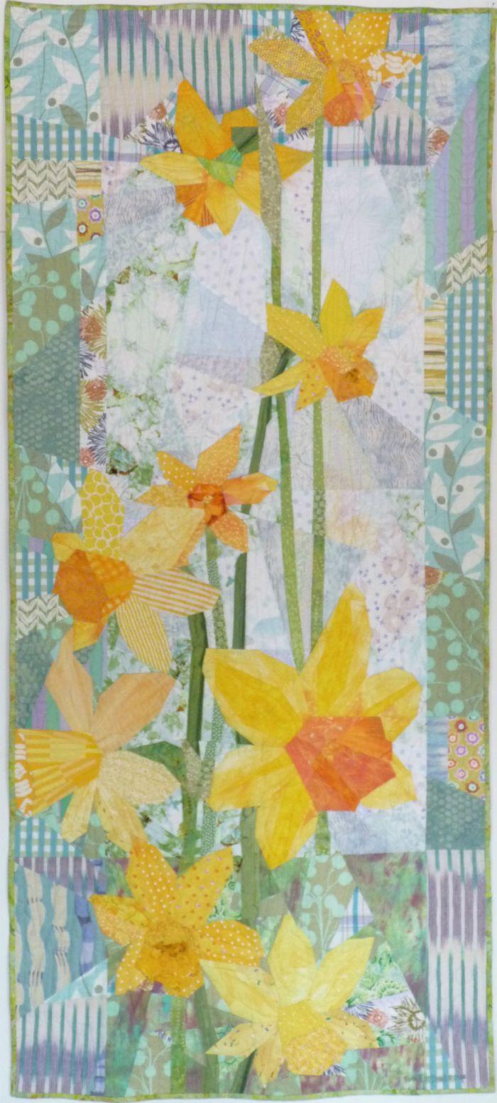 "Daffodills 2, 28"" x 61.5"" by Ruth B. McDowell. 2014 Machine Pieced, Machine Quilted, Cotton Fabrics, Cotton Batting."