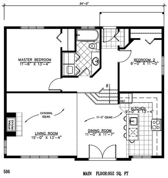 952 sq ft 34x house plans pinterest for 28x32 floor plan