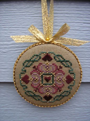 Finished Completed Just Nan Hearts and Garland Christmas Cross Stitch Ornament | eBay