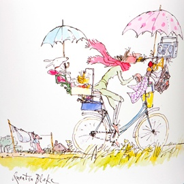 Quentin Blake. the colour Blake has used is summery and contrasting. this piece of illustration look refreshing.