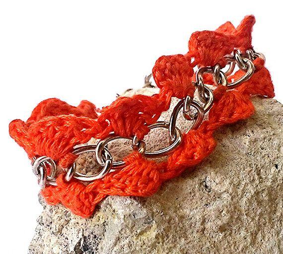 Orange Crochet Bracelet, Chain Bracelet, Neon Crochet, Large Orange Bracelet
