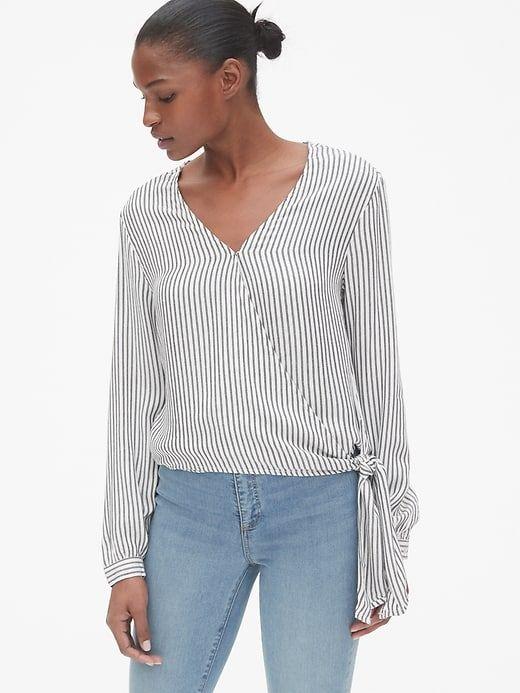 4924f9699139e0 Gap Women s Stripe Long Sleeve Wrap Blouse Black Stripe in 2019 ...