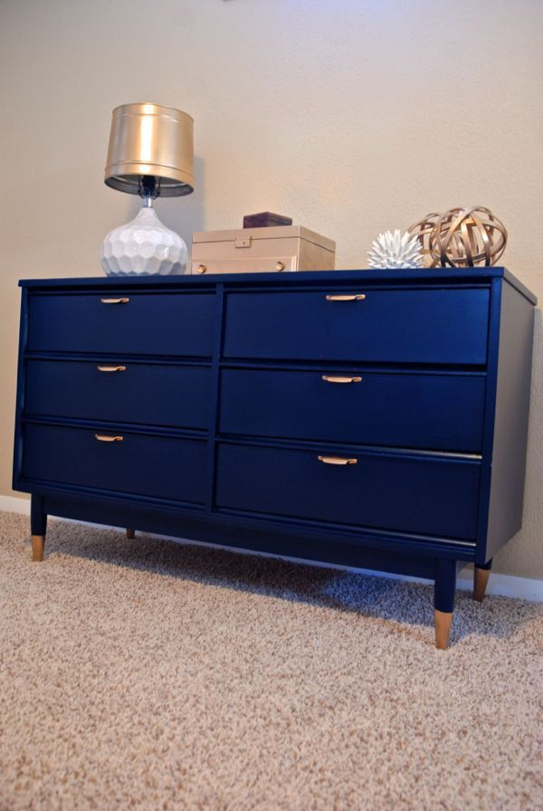 Navy Mid-Century Dresser Re-do with Gold Dipped Legs