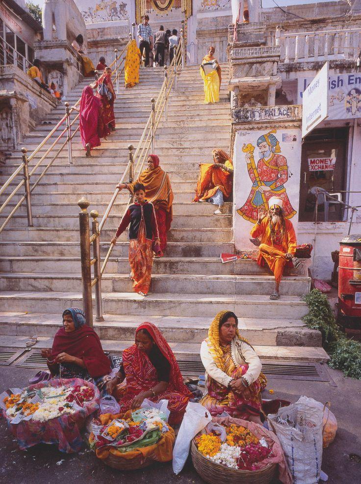 Women selling flowers near Jagdish Mandir in Udaipur , India
