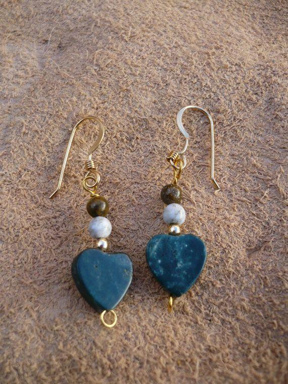 Ocean Jasper Heart  Earrings on gold filled by treasuresbytree, $13.95Crafts Ideas, Jasper Heart, Heart Earrings, Ocean Jasper, Gold Filling