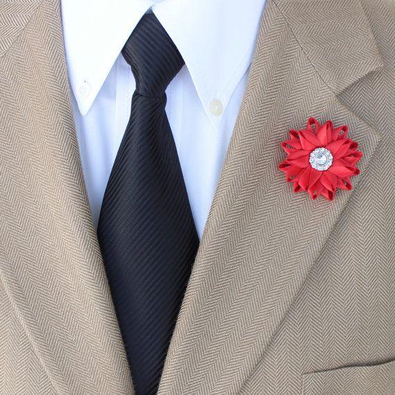Red Lapel Flower for Men Men's Red Boutonniere di PetalPerceptions