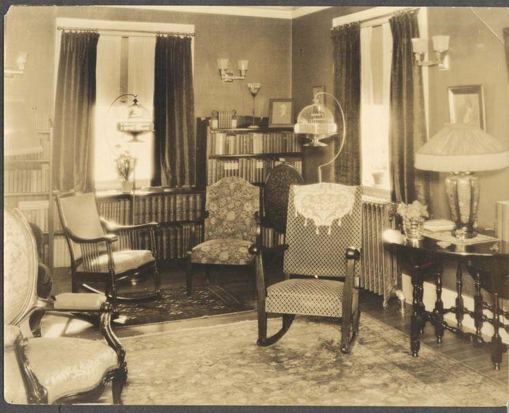 1930s house 1930s home interior bird cage tiffany lamp photo