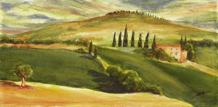 San Quirico, Tuscany (Art d'Eco) by Maga Fabler  Original acrylic painting on recycled cardboard