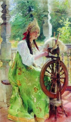 Konstantin Makovsky (Константин Егорович Маковский, 1839-1915) At the Spinning-Wheel