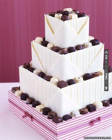 A chocolate-sampler-inspired wedding cake | VIA #WEDDINGPINS.NET