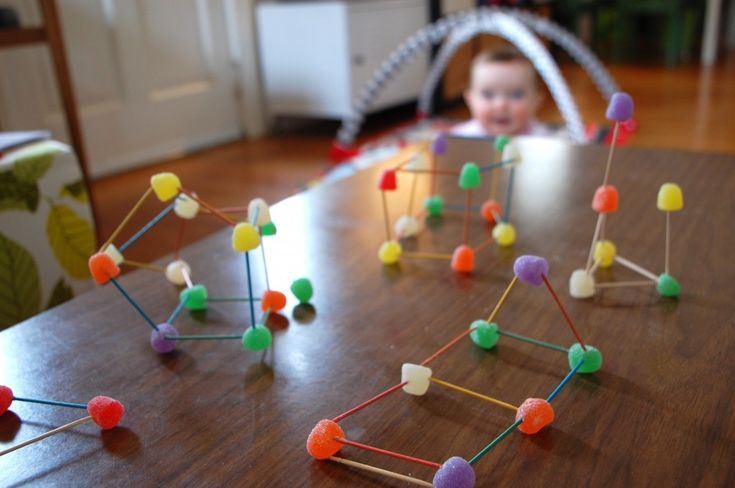 Gumdrops, mini-marshmallows and toothpicks are great building blocks for creating geometric shapes and fairy tale Hansel and Gretel houses.