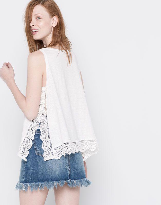 Pull&Bear - femme - nouveautés - t-shirt bas crochet - écru - 05244339-V2016
