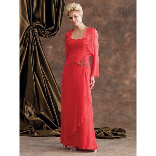 Red Beaded Satin Chiffon Mother Of Bride Dress#wedding #dress