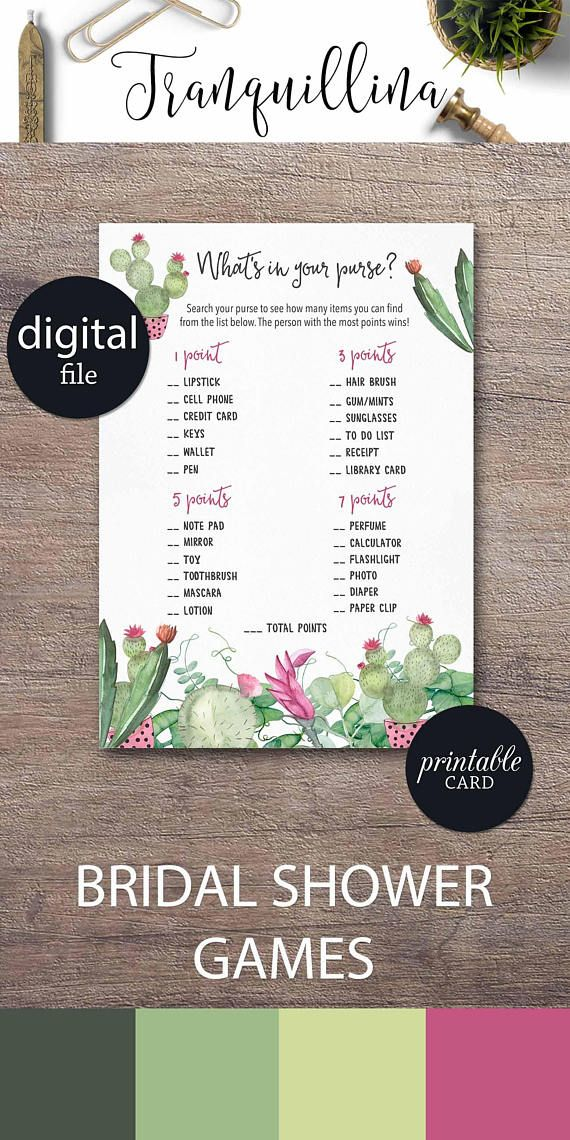 free e cards bridal shower invitations%0A Whats in your Purse Game Printable Fiesta Bridal Shower Purse game   Succulent cactus shower ideas