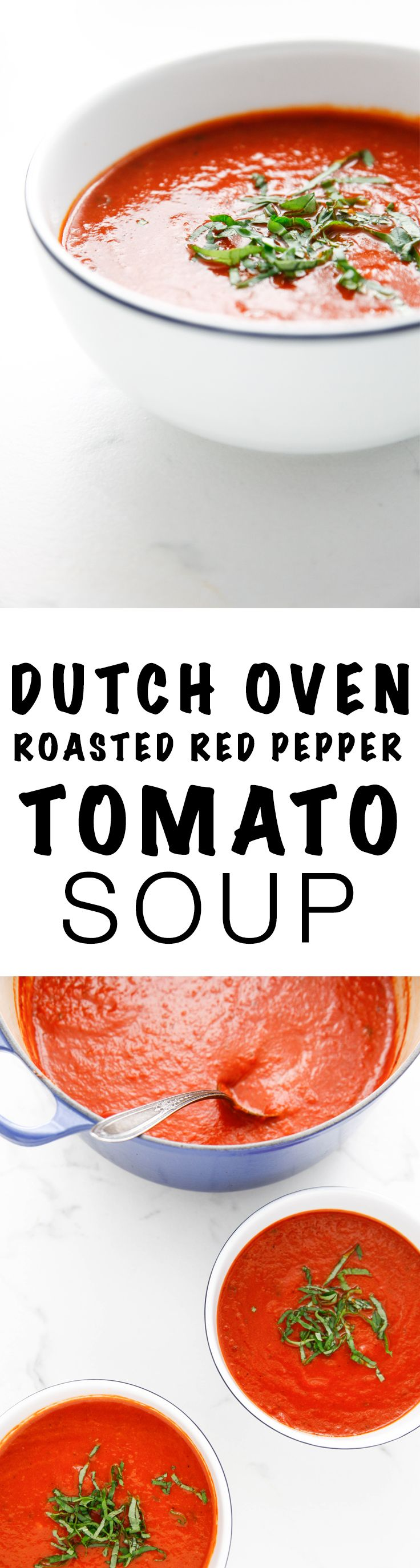 Dutch Oven Roasted Red Pepper and Tomato Soup via @thebrooklyncook