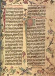 La Biblia de Gutenberg o de 42 líneas, llamada por ser éste el número más frecuente de líneas por columna en cada una de sus 1.280 páginas, fue concebida para que se asemejara lo más posible a un manuscrito, el códice de aquella época: no llevaba números de página, ni páginas de títulos u otros rasgos característicos de los libros modernos.