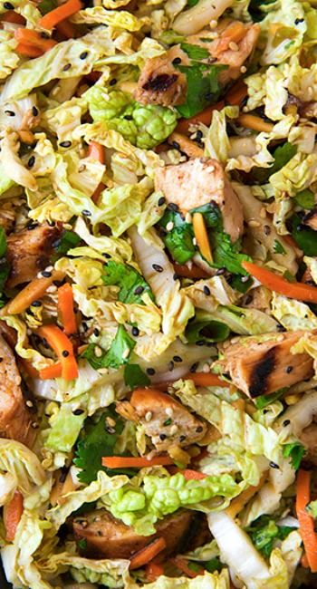 Grilled Ginger Sesame Chicken Chopped Salad ~ carrots, cabbage, green onions and cilantro this salad is a perfect dinner dish that will bring you not only delicious aroma of grilled chicken and perfect combination of tastes but also a plenty of vitamins and amino acids.