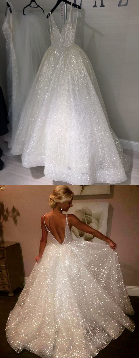 glitter white long prom dress, princess 2018 prom dress, ball gown
