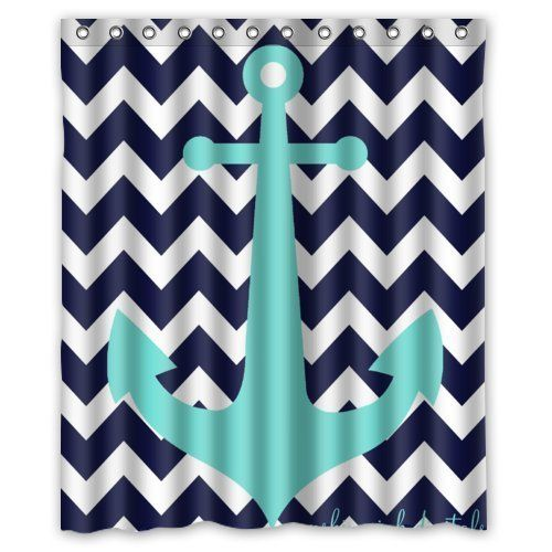 "Navy Blue Chevron with Nautical Anchor Waterproof Bathroom Shower Curtain 60""(w) x 72(h)"" inches One Day Custom http://www.amazon.com/dp/B00MFDHLIE/ref=cm_sw_r_pi_dp_SyPTvb198MQAK"