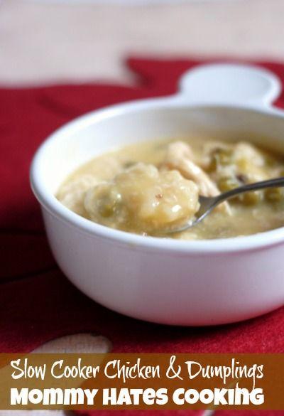 Slow Cooker Chicken & Dumplings by @MomHatesCooking
