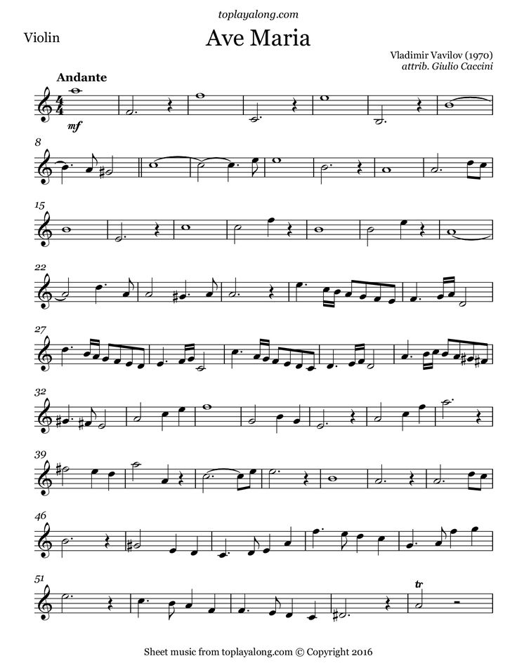 Ave Maria by Vavilov. Free sheet music for violin. Visit toplayalong.com and get access to hundreds of scores for violin with backing tracks to playalong.