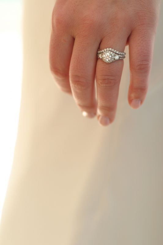 Girls w/ Halo Rings: Show me your wedding bands!! « Weddingbee Boards curved band