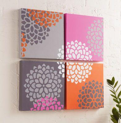 Ensemble de toiles décorées au pochoir en forme de chrysanthème