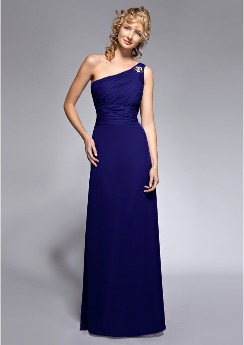 Chiffon Long/Floor-Length A-Line/Princess Sleeveless One-Shoulder Covered Button Bridesmaid Dress With Buckle (S10219951MYB)