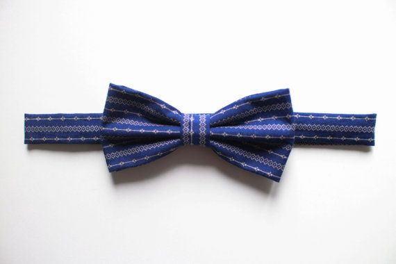 Navy blue patterned bow tie for men by everDapper on Etsy