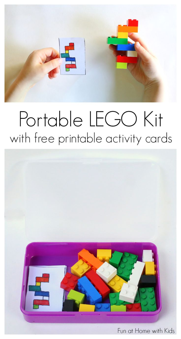 DIY Portable LEGO Kit with 24 Free Printable Activity Cards. Great quiet activity for early finishers! From Fun at Home with Kids