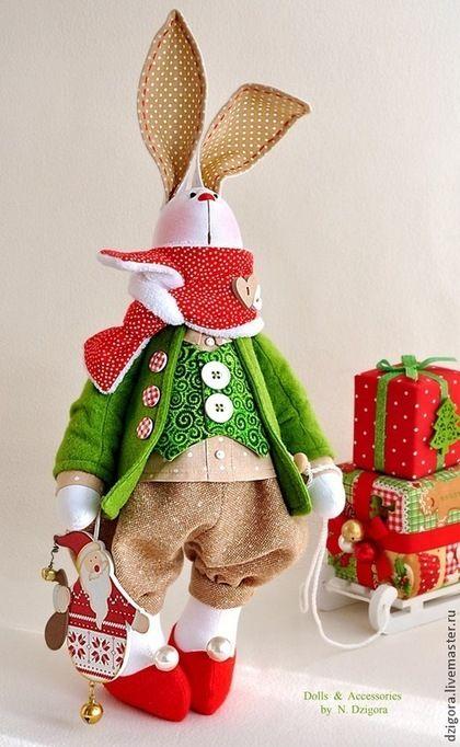 Игрушки животные, ручной работы. Белый рождественский кролик. Дзигора Наталья. Интернет-магазин Ярмарка Мастеров. Игрушка заяц