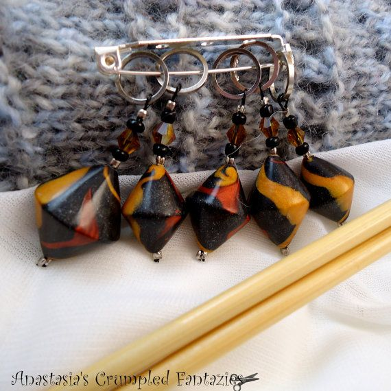 Knitting / Crochet stitch markers set Polymer by CrumpledFantazies