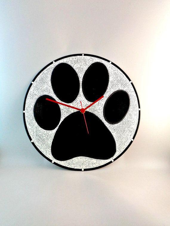 Dog Paws Vinyl Clock Upcycled Black & White Vinyl by InsaneDotting