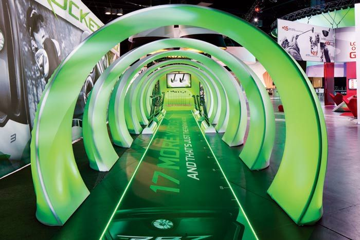 The 25,000-square-foot booth for TaylorMade-Adidas Golf at the P.G.A. Merchandise Show looked more like an elaborate village. Guests entered... Photo: Courtesy of TaylorMade-Adidas Golf