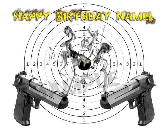 Pistol Birthday Edible Cake Toppers Custom Topper Picture Sugar